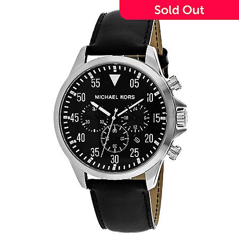 2179d5fec7a4 636-768- Michael Kors 45mm Gage Quartz Chronograph Leather Strap Watch