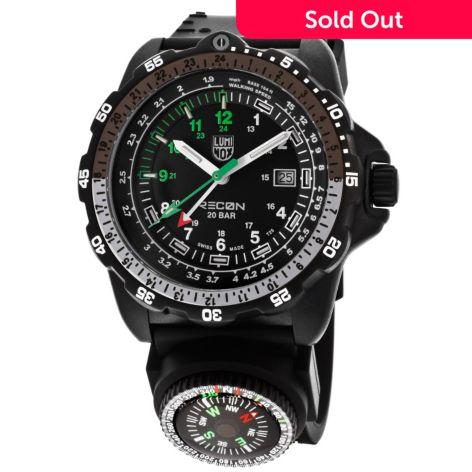 Luminox 48mm Recon Nav 8830 Series Gmt Swiss Made Quartz Silicone Strap Watch