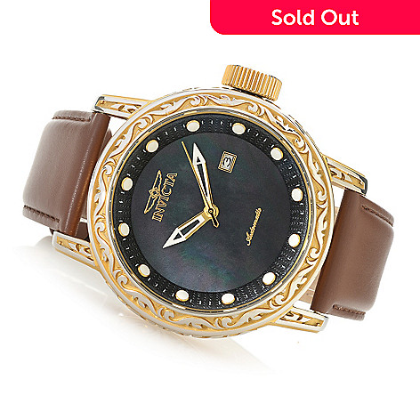d0d4c0548 637-515- Invicta 52mm Excalibur Automatic Mother-of-Pearl Leather Strap  Watch