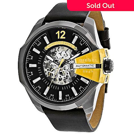 9af6abc8833f 637-578- Diesel 52mm Mega Chief Automatic Leather Strap Watch