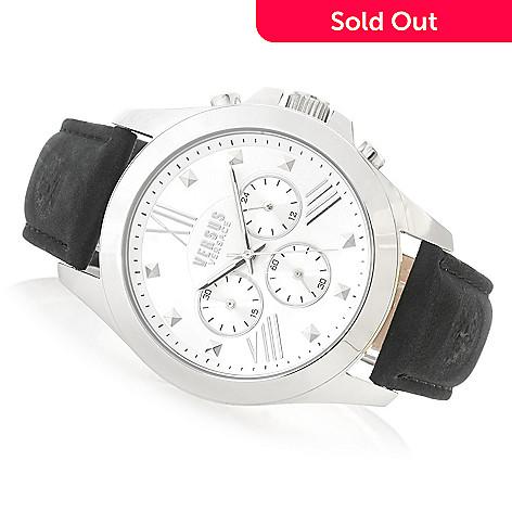 638-109- Versus Versace Men s 44mm Chrono Lion Quartz Chronograph Leather  Strap Watch 2210baaa209c9