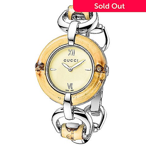 8db24405561 638-817- Gucci Women s Swiss Made Quartz Bamboo Accented Stainless Steel  Bracelet Watch