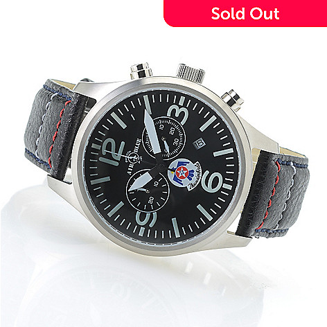 638-948- Air Blue Men s 44mm Thunderbirds Swiss Quartz Chronograph Sapphire  Crystal Leather Strap 0be870f877d5
