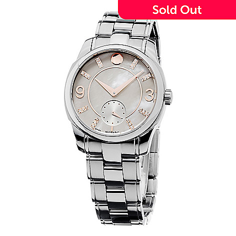 51232fae29c Movado Women s LX Swiss Made Quartz Mother-of-Pearl Diamond Accented ...
