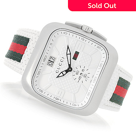 fec81058a2c 641-638- Gucci 40mm Coupe Swiss Made Quartz Sapphire Crystal Leather Strap  Watch