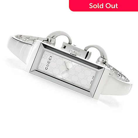 3177de136 641-642- Gucci Women's G-Frame Rectangle Swiss Made Quartz Bangle Bracelet  Watch