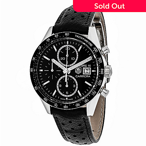 e74f8bc4f12fb 642-136- Tag Heuer Men s 42mm Carrera Swiss Made Automatic Chronograph  Leather Strap Watch