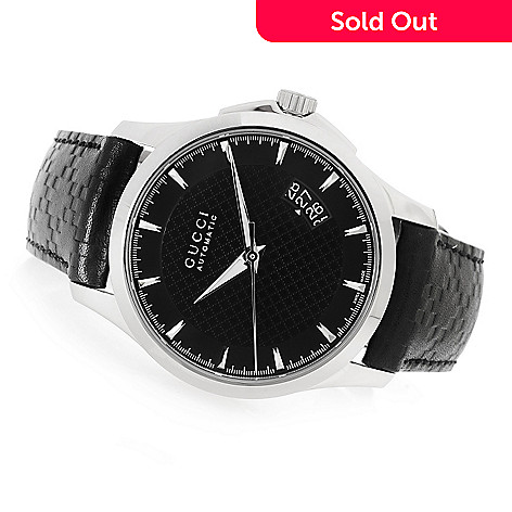 d402484fd04 642-502- Gucci Men s 38mm G-Timeless Swiss Made Automatic Leather Strap  Watch