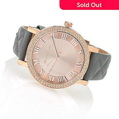 c924f5ce54d6 642-703- Michael Kors Women s Norie Quartz Sunray Dial Crystal Accented  Quilted Leather Strap