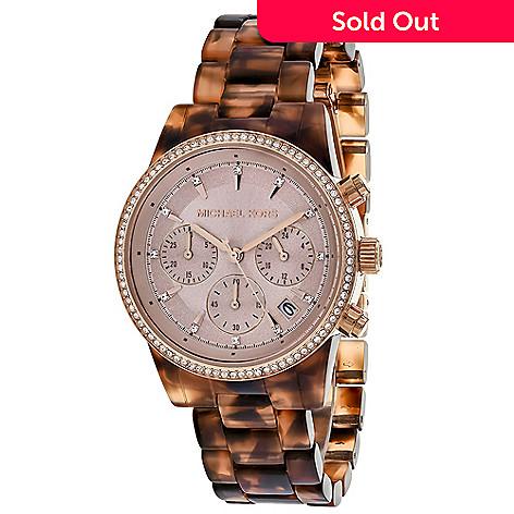 93b5785fa933d 642-745- Michael Kors Women s Ritz Quartz Crystal Accented Faux Tortoiseshell  Bracelet Watch