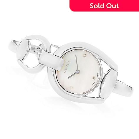 7eb62677aca 642-813- Gucci Women s Horsebit Swiss Made Quartz Diamond Accented Stainless  Steel Bracelet Watch