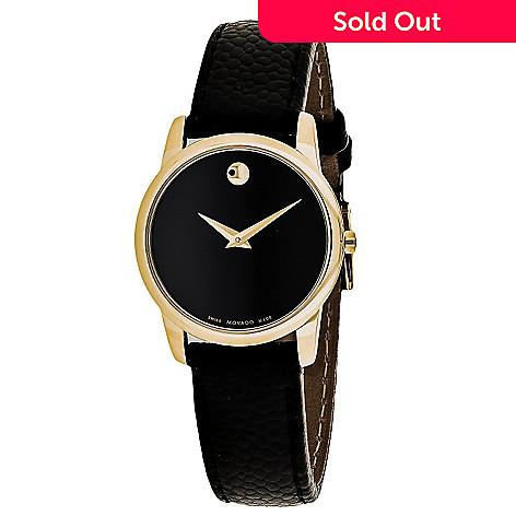 b87888483 642-972- Movado Women's Museum Swiss Made Quartz Gold-tone Leather Strap  Watch