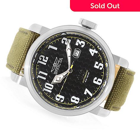 a352b18c4 643-202- Invicta 52mm Aviator Automatic Carbon Fiber Dial Canvas Strap Watch