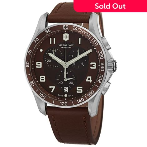 Victorinox Swiss Army Men S 45mm Chrono Classic Swiss Made Quartz Chronograph Leather Strap Watch