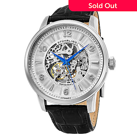 6f8f8add2 643-523- Stührling Original Men's 48mm Legacy Automatic Skeletonized Dial  Black Leather Strap Watch