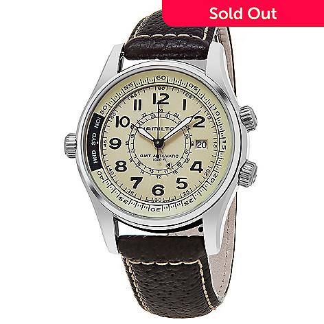 Hamilton Men S 42mm Khaki Navy Utc Swiss Made Automatic Gmt Brown Leather Strap Watch