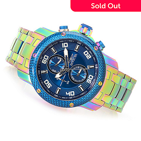 Pro Bracelet Diver W Scuba Invicta Carbon Iridescent Watch 48mm Quartz Men's Case 1 0 Chronograh 8X0PnwOZNk