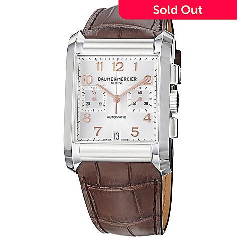 Hampton Leather Mercier Swiss Men's Made Automatic 45mm Watch Chronograph Baumeamp; Strap nwO0PX8k