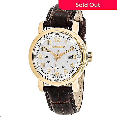 643-964- Wenger Women s Hodinky Swiss Made Quartz Leather Strap Watch 6d4b96b64ab