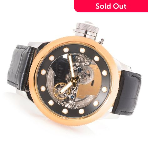 Invicta Men's 52mm Russian Diver Ghost Automatic Skeletonized Dial Leather  Strap Watch w/ Dive Case