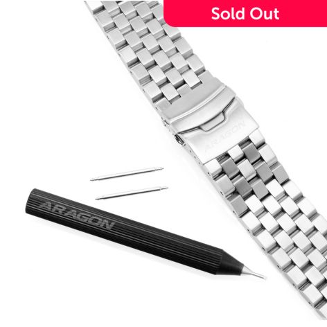 Aragon Gauge 26mm Brushed Stainless Steel Watch Bracelet W 2 Pins Changing Tool