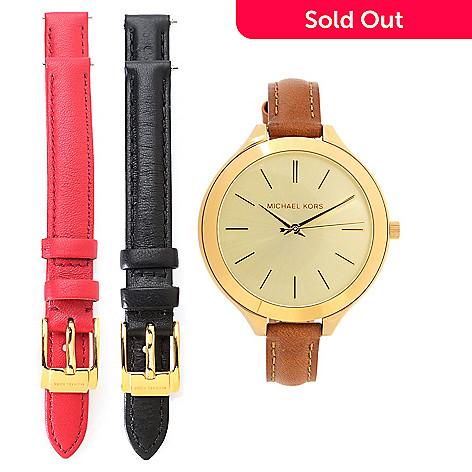 80837fb1479f Michael Kors Women s Slim Runway Quartz Watch w  3-Piece Leather ...