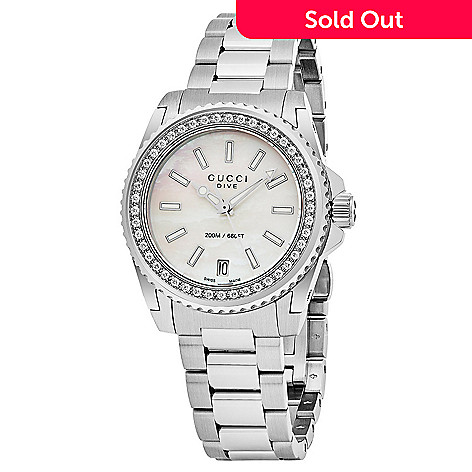 02f8856a485 644-501- Gucci Women s Dive Swiss Made Quartz Diamond Accented Mother-of-