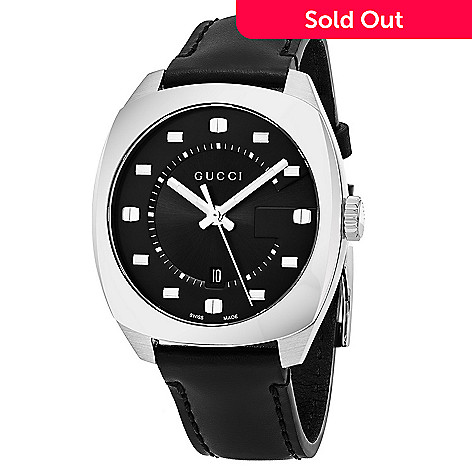 cfee1d92a3e 644-504- Gucci Men s 41mm Swiss Made Quartz Sapphire Crystal Leather Strap  Watch