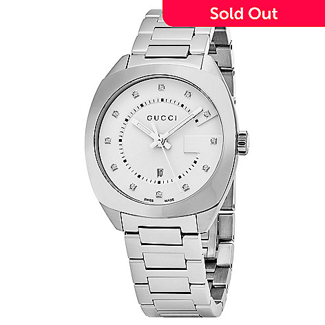 001e097caa7 644-506- Gucci Women s Swiss Made Quartz Diamond Accented Stainless Steel  Bracelet Watch