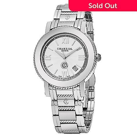 e588792c0a4 644-693- Charriol Men s 41mm Parisi Swiss Made Quartz Date Stainless Steel  Bracelet Watch