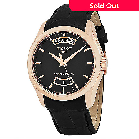 d36b113cf62 645-006- Tissot Men s 39mm Couturier Swiss Made Automatic Rose-tone Black  Leather