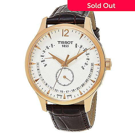 0249072fab3 645-051- Tissot Men s 42mm Tradition Swiss Made Quartz Date Brown Leather  Strap Watch