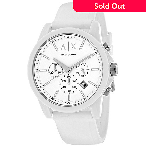 90bb46183 645-262- Armani Exchange Men's 44mm Active Quartz Chronograph Date Silicone  Strap Watch