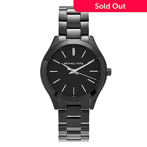 9bc1532836c72 645-859- Michael Kors Women s Slim Runway Quartz Black Stainless Steel  Bracelet Watch