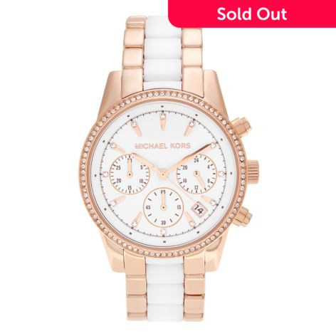Michael Kors Women's Ritz Quartz Chronograph Crystal Accented Stainless Steel Bracelet Watch