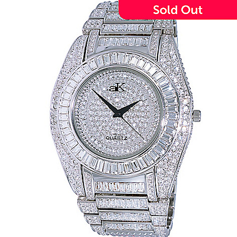 64ac6864d4f76 Adee Kaye Men's 48mm Galaxy Quartz Austrian Crystal Accented Stainless  Steel Bracelet Watch