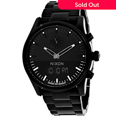 8c798543b 646-296- Nixon Men's 46mm Duo Quartz Analog / Digital Black Stainless Steel  Bracelet