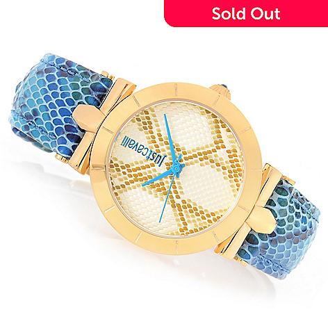 93d344fa02801 646-567- Just Cavalli Women's Reptilia Quartz Snake-Inspired Leather Strap  Watch