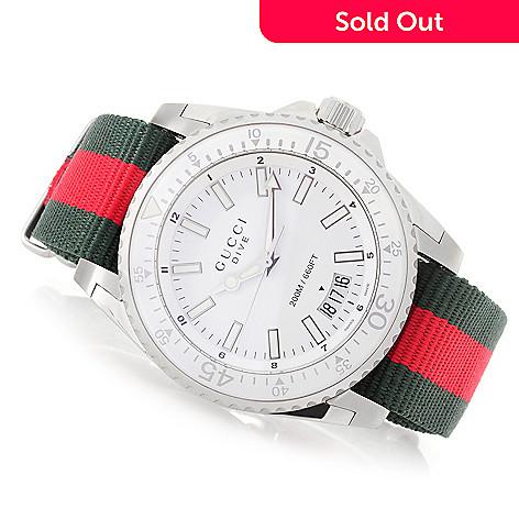 eb43d3b902c 646-931- Gucci Men s 46mm Dive Swiss Made Quartz Nylon NATO Strap Watch