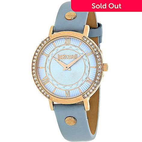 0611e2ceb0fea 646-998- Just Cavalli Women's JC Hour Quartz Crystal Accented Blue Leather  Strap Watch