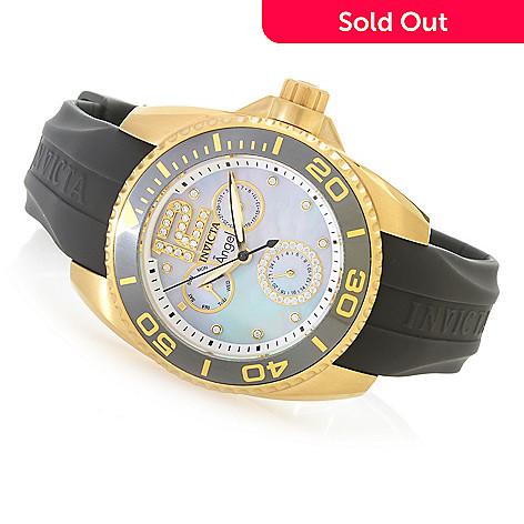 Invicta Women's Angel Quartz Multi Function Mother-of-Pearl Silicone Strap  Watch