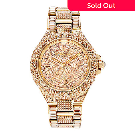 793879b2e462 647-712- Michael Kors Women s Camille Quartz Crystal Accented Rose-tone  Stainless Steel