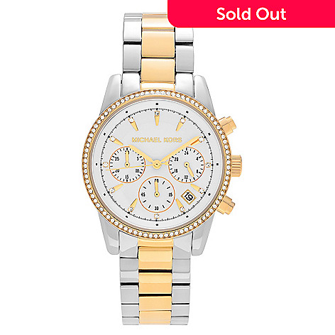 5062545ec 647-715- Michael Kors Women's Ritz Quartz Chronograph Two-tone Stainless  Steel Bracelet