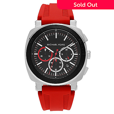 81eea7827c33 647-718- Michael Kors Men s 43mm Bax Quartz Chronograph Silicone Strap Watch