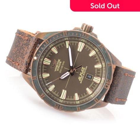 Vostok-Europe Men's 47mm Almaz Patina Limited Edition Automatic Pre-Aged  Leather Strap Watch