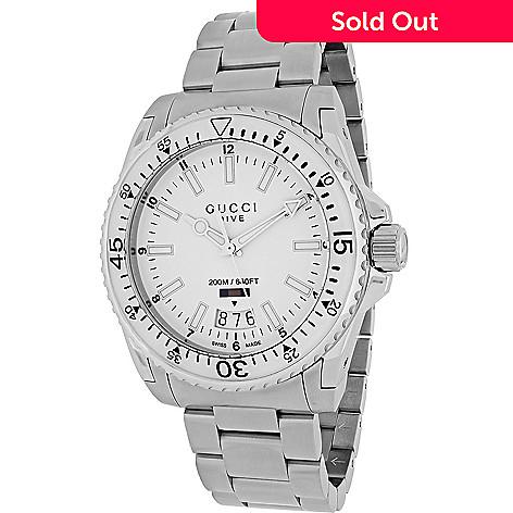 714b515d17b 648-646- Gucci Men s 40mm Dive Swiss Made Quartz Date Stainless Steel  Bracelet Watch