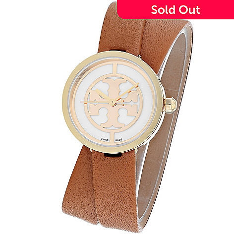 cf0f12055 648-717- Tory Burch Women's Reva Swiss Made Quartz Leather Wrap Strap Watch
