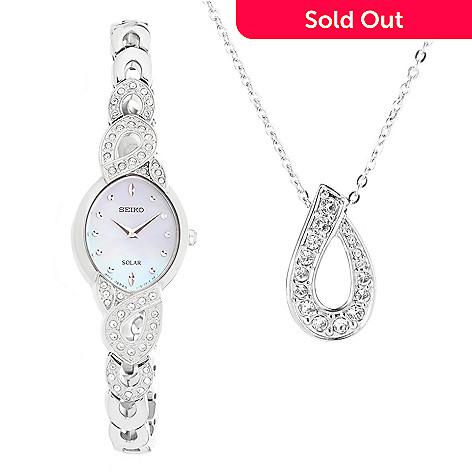 Seiko womens solar quartz bracelet watch pendant made w 649 214 seiko womens solar quartz bracelet watch pendant made w swarovski aloadofball Gallery