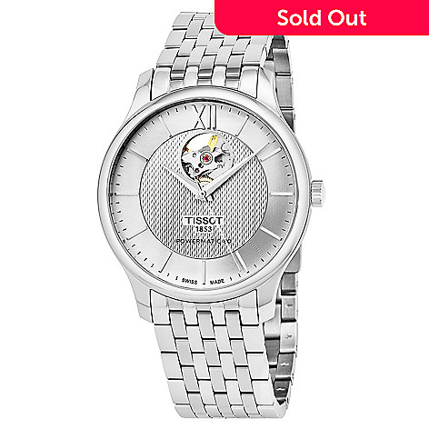 649-314- Tissot Men s 40mm Tradition Powermatic 80 Swiss Made Automatic Open  Heart Bracelet 9cdecbe9ed17