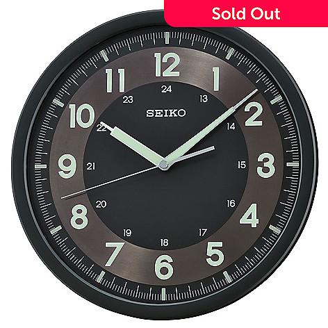 649 668 Seiko Black Quiet Sweep Wall Clock W Luminous Arabic Numerals